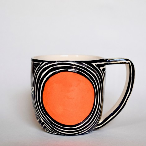 Mug en faience rond orange